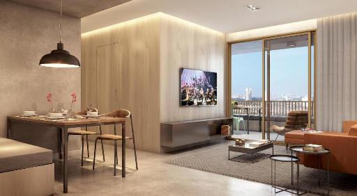 Living do Apartamento de 70 m²