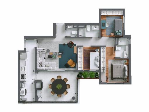 Planta tipo do apartamento de 100 m² do Essência