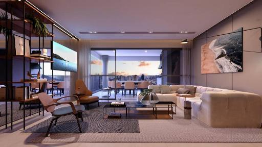 Living do apartamento de 100 m²