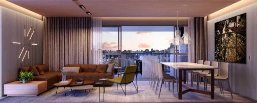 Living do apartamento de 150 m²